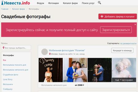 Список свадебных фотографов на Nevesta.info